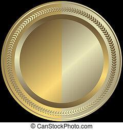 arany-, és, ezüstös, tányér, (vector)
