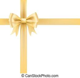 arany-, íj, szalag, köszönés, dekoratív, element., vektor, ábra