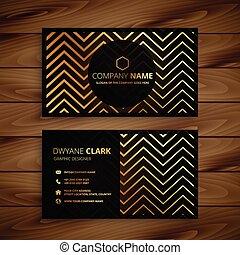 arany-, ügy, cikcakkos, alakzat, tervezés, elegáns, fekete, kártya