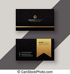 arany-, ügy, tervezés, elegáns, kártya, fekete