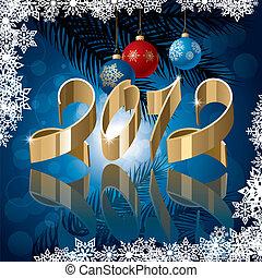 arany-, 2012, szalag, képben látható, tél, háttér., vektor, ábra