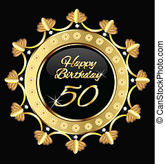 arany, 50, születésnap, tervezés, boldog