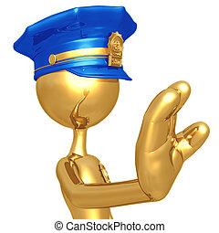 arany-, abbahagy, tiszt, gesztus, rendőrség