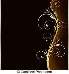 arany-, alapismeretek, sötét, finom, tervezés, háttér, virágos
