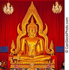 arany-, buddha, halánték, szobor, thaiföld