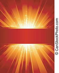 arany-, copyspace, függőleges, kitörés, fény, csillaggal díszít, piros