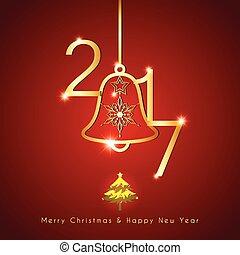arany-, csengő, szikrázó, háttér, karácsony, piros