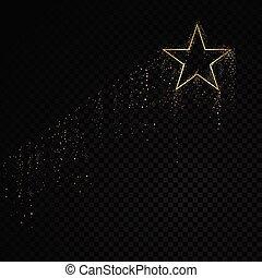 arany-, csillag, frame., háttér., elszigetelt, ábra, szikra, vektor, fekete, áttetsző