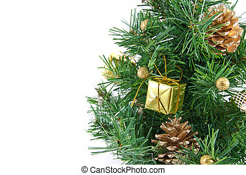arany-, díszes, karácsonyfa, noha, sok, ajándékoz, és, elszigetelt, white