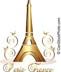 arany, eiffel, vektor, háttér, paris-france, bástya
