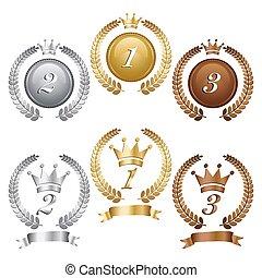 arany, ezüst, és, bronz, medals