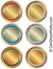 arany, ezüst, és, bronz, szalagcímek