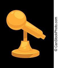 arany, fényes, mikrofon, képben látható, szilárd, áll,...