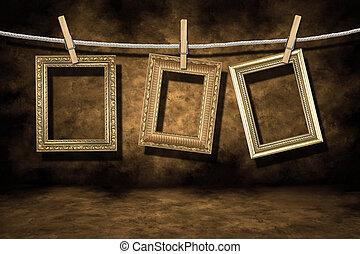 arany, fénykép keret, képben látható, egy, szomorú, grunge,...