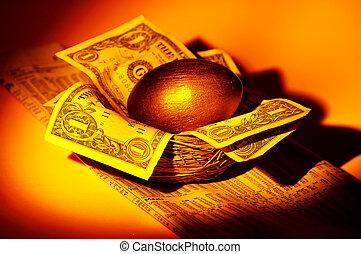 arany, fészekben lévő tojás