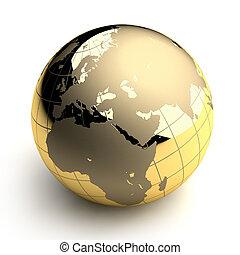 arany-, földgolyó, white háttér
