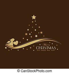 arany-, fa, csillaggal díszít, angyal, karácsony