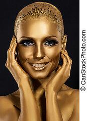 arany-, fantasztikus, nő, művészet, &, makeup., mosolyog., színezés, nagyszerű, glance.