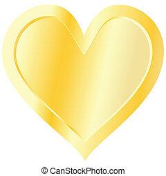 arany-, fehér, elszigetelt, háttér, szív
