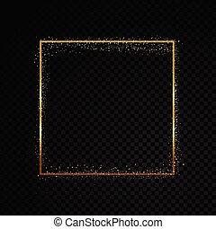 arany-, frame., háttér., elszigetelt, ábra, szikra, vektor, fekete, áttetsző, téglalap