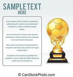 arany-, futball, csésze, vector., hajlandó, helyett, -e, szöveg
