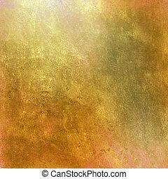 arany-, grunge, háttér, fény
