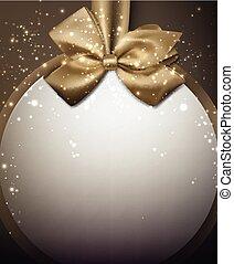 arany- háttér, karácsony, bow.