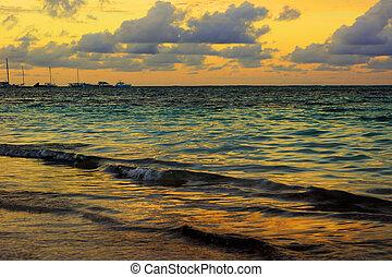 arany- hour, napnyugta, képben látható, a, tenger