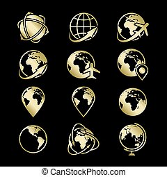 arany-, ikonok, földgolyó, gyűjtés, fekete, földdel feltölt, háttérfüggöny