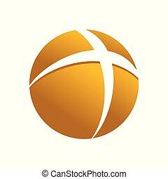 arany-, jelkép, kereszt, tervezés, jel, földgolyó, kör alakú