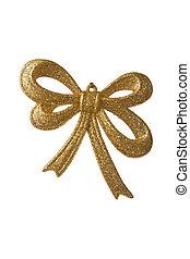 arany-, karácsony, íj, isolated., ünnep, háttér