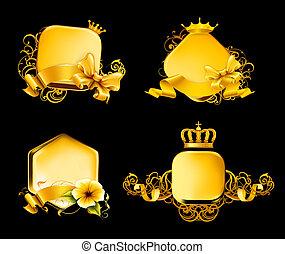 arany-, keret, állhatatos, fekete