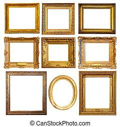 arany-, keret, állhatatos