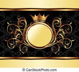 arany, keret, finom, csomagolás, tervezés, meghívás, vagy