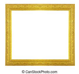 arany, keret, képben látható, egy, fehér, háttér.