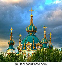 arany-, kiev, andrew's, gömbölyít, szent, templom