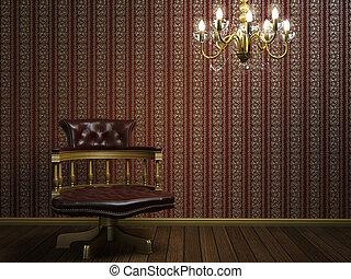 arany-, klasszikus, karosszék, tervezés, részletek, belső