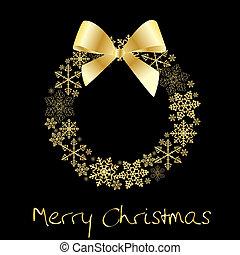 arany-, koszorú, karácsony, íj