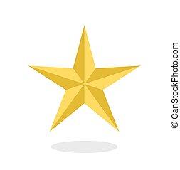 arany-, mód, csillag, lakás, csepp, elszigetelt, árnyék, fehér, ikon