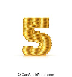 arany-, mód, elkészített, pénzdarab., vektor, betűtípus