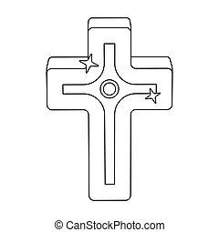 arany-, mód, illustration., ikon, jelkép, cross., egyedülálló, vektor, részvény, húsvét, áttekintés