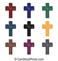 arany-, mód, illustration., jelkép, cross., egyedülálló, vektor, fekete, ikon, húsvét, részvény