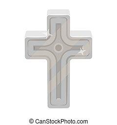 arany-, mód, illustration., jelkép, cross., egyedülálló, vektor, monochrom, ikon, húsvét, részvény