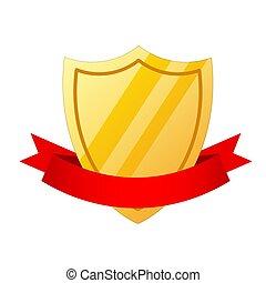 arany-, mód, szalag, pajzs, ábra, vektor, ikon, karikatúra, piros, részvény