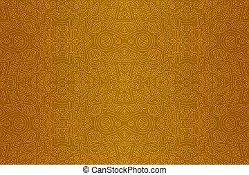 arany-, művészet, lineáris, motívum, elvont, seamless