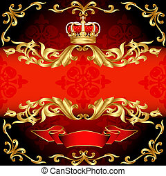 arany, motívum, keret, korona, háttér, piros
