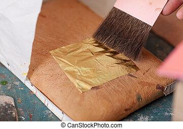 arany-, nő, levél növényen, fém, műhely, használ