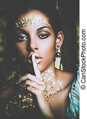 arany-, nő, szépség, alkat, fiatal, fekete, portré
