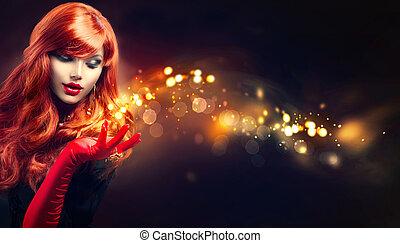 arany-, nő, varázslatos, neki, szépség, szikrázik, kéz, varázslat