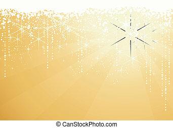 arany-, nagy, occasions., csillaggal díszít, ünnepies, szikrázó, év, háttér., háttér, új, vagy, karácsony